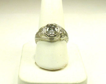 Beautiful, Ladies, Antique, Estate, 14k, White, Gold, 1.15ct, Solitaire, Diamond, Ring