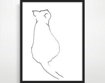Cat Art, Cat Lover Gift, Black and White Art, Minimalist Art, Cute Animal, Modern Nursery Decor, Nursery Wall Art, Minimalist Poster