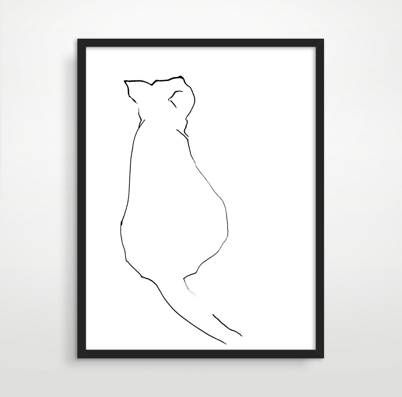 Cat art cat lover gift black and white art minimalist art for Minimal art black and white