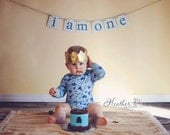 I am one banner, First Birthday Banner, One year Photo prop, Boy first Birthday Banner