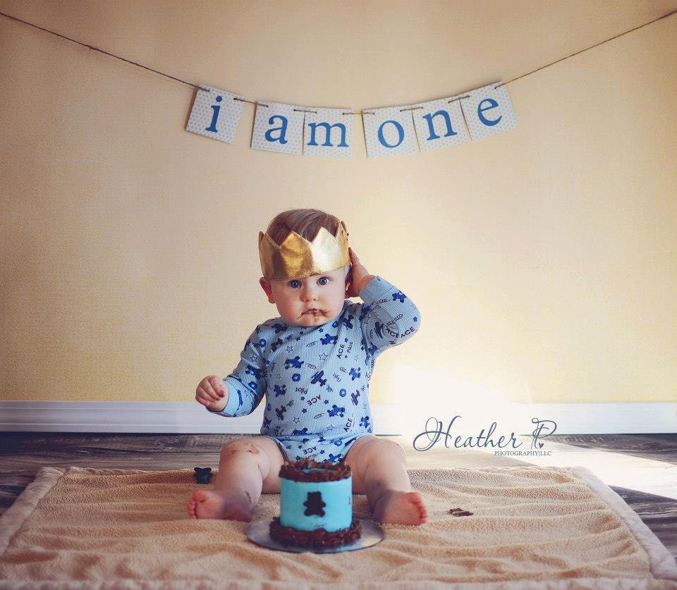 I Am One Banner First Birthday Banner One Year Photo Prop