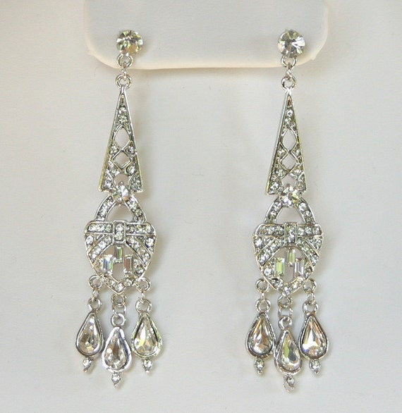 Art Deco Bridal Earrings, Crystal Chandelier Earrings, Wedding jewelry, Bridal accessory, Tear drop dangle