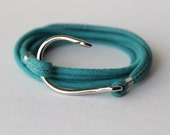 Leather Turquoise Bracelet with stainless steel fish hook-FREE SHIPPING in the USA
