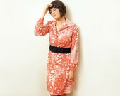 Vintage shirt dress - Red and white heart - Sears - 60s 70s - a line. long sleeve. button up. knee length. psychedelic