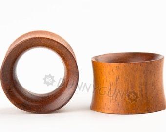 "7/8"" Pair Indonesian Mahogany Wood Beveled Hollow Plugs Organic Hand Carved Body Piercing Jewelry Gauge Earrings"