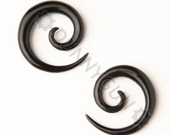 6G Pair Black Horn Spirals Gauged Plugs Organic Hand Carved Body Piercing Jewelry 6 Gauge Earrings