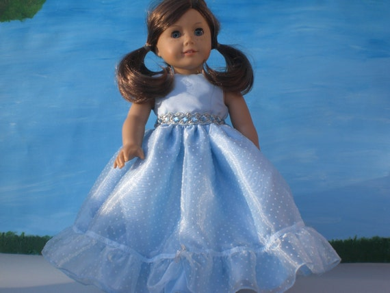 Cinderella Blue Dotted Swiss Party Dress for 18 inch Dolls