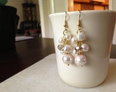 Blush Pink Freshwater Pearl Dangle Cluster Earring Gold Plated Wire