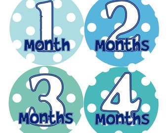 BOY MONTHLY STICKERS - Baby Boy Month Stickers - Green & Blue Month Stickers - Baby Shower Gift - Photo Prop - Timmothy-T