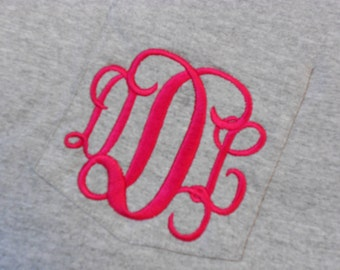 Monogram Long Sleeve Pocket Tee  Font Shown INTERLOCKING