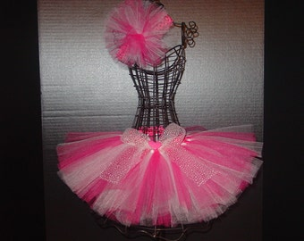 Pretty in Pink TuTu Skirt and Headband Two Piece Set Newborn to 12 Months Baby Infant CUSTOM Pink White