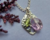 Sterling Silver Necklace with Amethyst and Peridot Stones Pendant 926