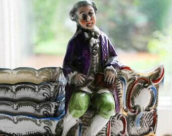 Vintage Erphila George Washington Beethoven Figurine Ashtray Match holder Antique Figural Smoking Set