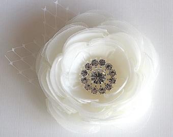 Ivory wedding hair flower with rhinestone -wedding hair accessories - bridal hair flower - bridal hair clip