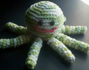 Crochet green, light green, white and a smidge of blue octopus amigurumi- baby toy- stuffed animal