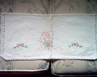 Vintage Embroidered Toilet Tank Top Cover