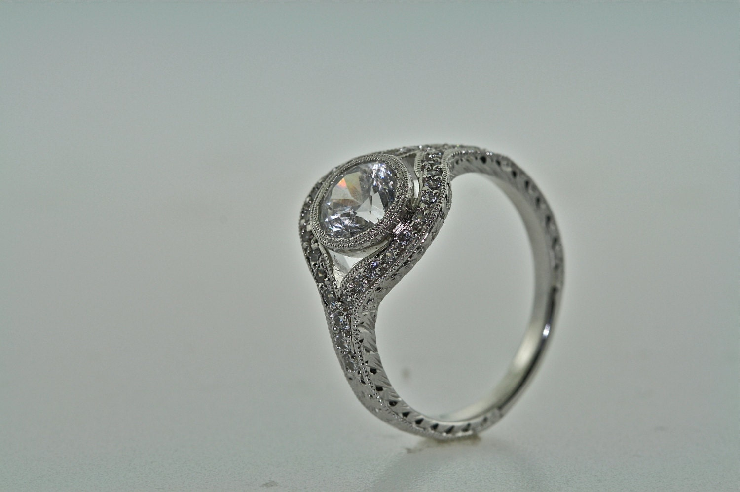 14kt White Gold and Diamond Art Deco Design Hand Engraved