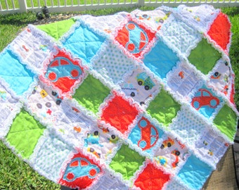 CUSTOM Made RaG Quilt and Pilliow BaBY SiZE 33in by 33in PEAK HoUR GREAt BABY GiFT