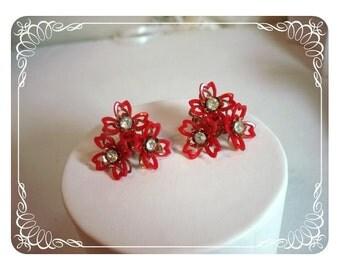 Red Flower Rhinestone Earrings   E101a-040812000