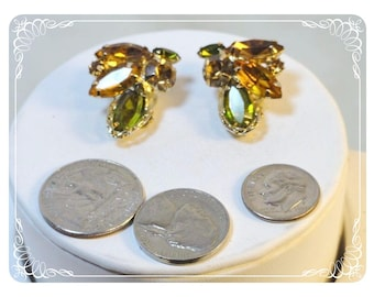 Vintage Gold & Green Marquis Rhinestone Clip on Earrings - E3583a-09172012031