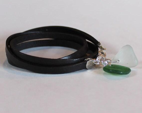 Beach Glass Ankle Bracelet -  leather wrap anklet / bracelet