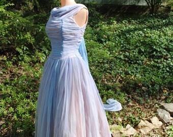 1950 Blue Evening Gown Prom Dance Dress VLV Burlesque Medium  SALE