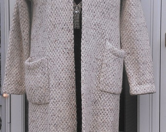 Gorgeous Long Wool Knitted Coat / Jacket Size L