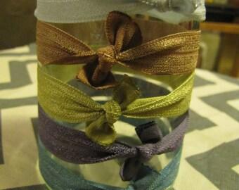 5 Elastic hair tiesElastic hair ties, elastic hair ribbons, pony tail holder, no dent pony tail holder, no dent hair ties, katy's clips