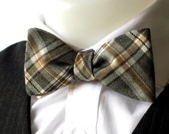 Plaid bowtie - soft  Grey & Brown -  classic self tie/ freestyle bowtie