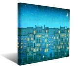 You are not alone - Paris Canvas print Ready to hang Art Home decor Wall decor Wedding gift ideas Living room decor Turquoise Blue Houses