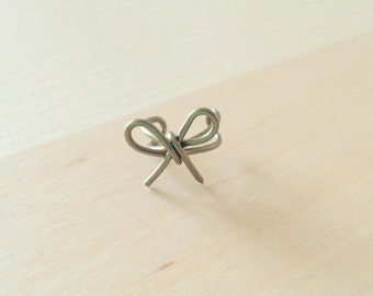Antique brass wire bow ear cuff hand made available in silver, black, brass, rose gold non piercing