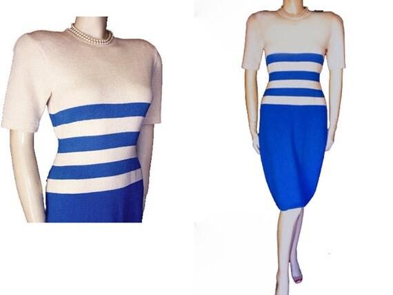 Vintage St John Santana Knit Dress Marie Gray Blue & Off White Dress designer dress Santana knit dress Spring dress summer dress vintage kni