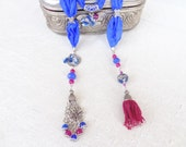 Cobalt Blue Jewelry Scarf- ,Angel , Afghan Tassel,Silk Necklace-Turkish Silk Necklace