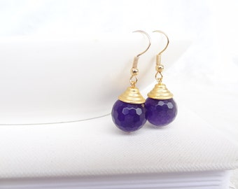 Amethyst Earrings,Gold Earring, Feminine, Christmas Gifts