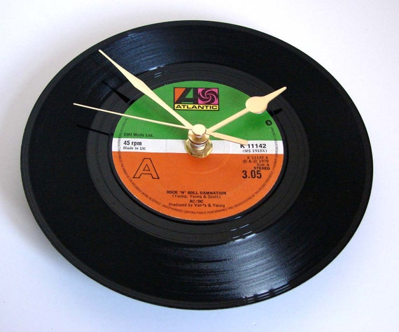 "AC/DC Vinyl Record CLOCK  Recycled ""Rock n Roll Damnation"" 7"" single. Heavy Metal Gift for dad brothers son bedroom den wall decor"