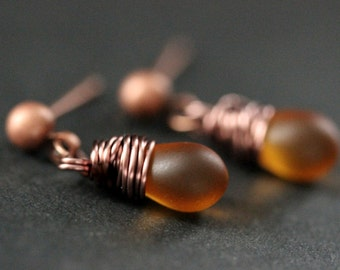 COPPER Earrings - Clouded Amber Teardrop Earrings. Dangle Earrings. Stud Post Earrings. Handmade Jewelry.