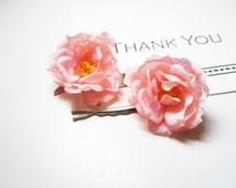 sale Pink flower  bobby pins-wedding bobbies, wedding headpiece, flower girl-Fabric  Bohemian Hair Piece  free shipping
