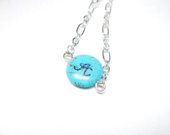 Turquoise necklace- Personalized initial  necklace-Blue necklace-engraved  necklace - Bridesmaids Jewelry