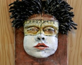 Handmade Ceramic Face mask Wall art