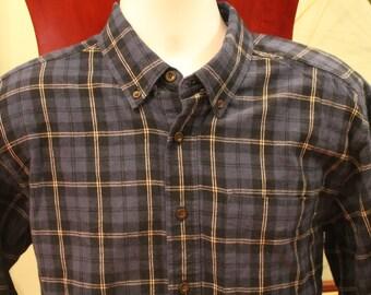LL Bean Blue Plaid Flannel /// Vtg Mens shirts /// Mens Large