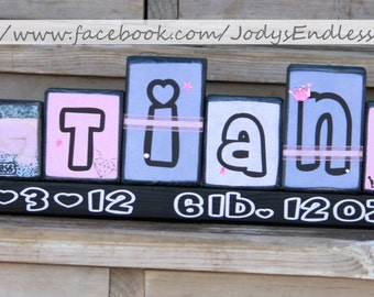 Princess Name Blocks - Name Blocks - Girl Name Blocks - Children Name Blocks
