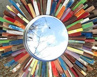 "27"" Colorful Reclaimed Wood Sunburst Mirror Art, Midcentury Modern Art MADE TO ORDER"