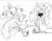 Easily Deciphered - Abstract, Surreal, Geometrical. Explosion of good detail. Drawing, sketch. PRINT