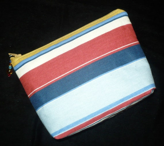 Jeweled Make Up Bag Purse/Cosmetic Pouch in Multi Stripe