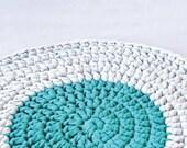 Rug floor crochet - emerald and gray - housewares