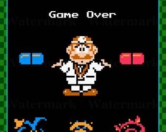 Video Game Art Print - Dr. Mario - Why Didn't I Take the Blue Pill - Nintendo Tribute