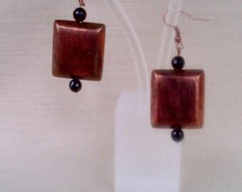 Bronze and Oynx Earrings