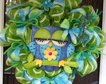 Owl deco Mesh Wreath