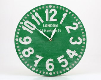 Pseudo vintage birch clock hand painted clock -London emerald green light-  // Great for Shabby Chic Room Decor // FREE SHIPPING WORLDWIDE