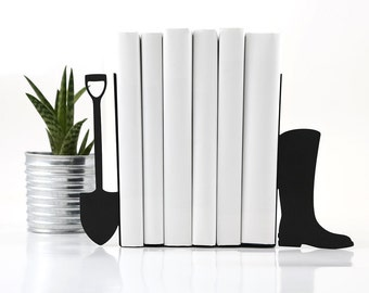 Metal Bookends -Shovel and boot- functional decor for modern home cottage // housewarming present for a gardner // FREE WORLDWIDE SHIPPING